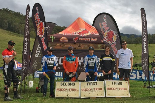 Elite Men's podium (l-r): Tim Eaton, Josh Button, Thomas Crimmins, Mark Conliffe, Bruce Moir.