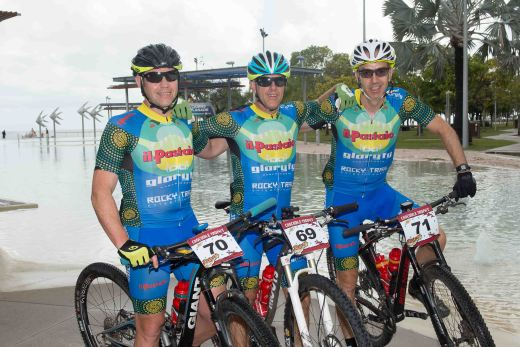 At the start of stage two - the three Il Pastaio/Rocky Trail Racing A3 Musketeers (40+ category): Trent Moore 4th, Clayton Locke 5th and Guy Cowan 6th place in their category overall after three stages!