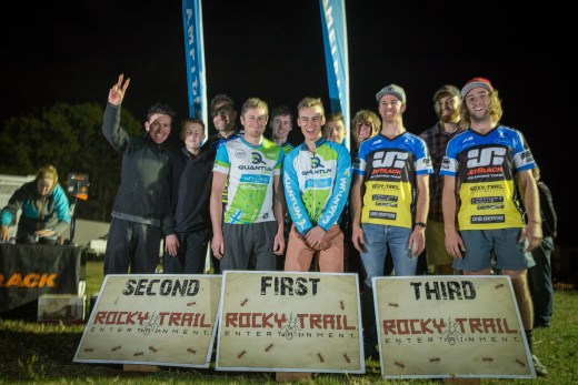 Team Podium from Rocky Trail Entertainment's Jetblack 12hr at Mowbray Farm - the winning Quantum Racing Team takes out the overall line honours.