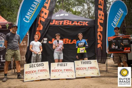 24H Solo Female podium (l-r): Jen North, Jemma Burtonwood, Dalene Pretorius.