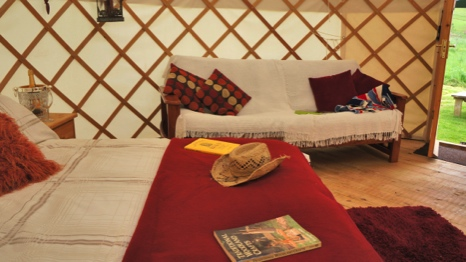inside the yurt its relaxing and calm