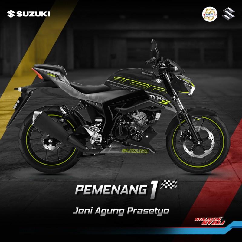 Kreatifitas terbaik dalam mendesain livery Suzuki GSX-S150 akhirnya terpilih menjadi Pemenang GSX Series Digital Modifikasi Periode 2