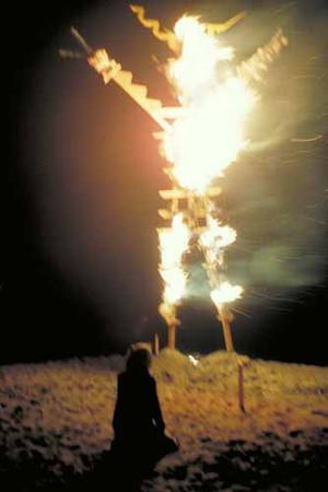 Burning man in 1987, taken by Stewart Harvey