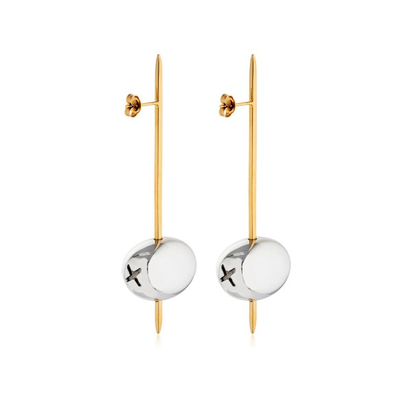 Earring Tapeo Gold and Silver SCH 377-1 - Back