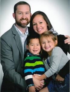 Nathan and Jennifer Washburn with children Owen RenLi and Kara Victoria.