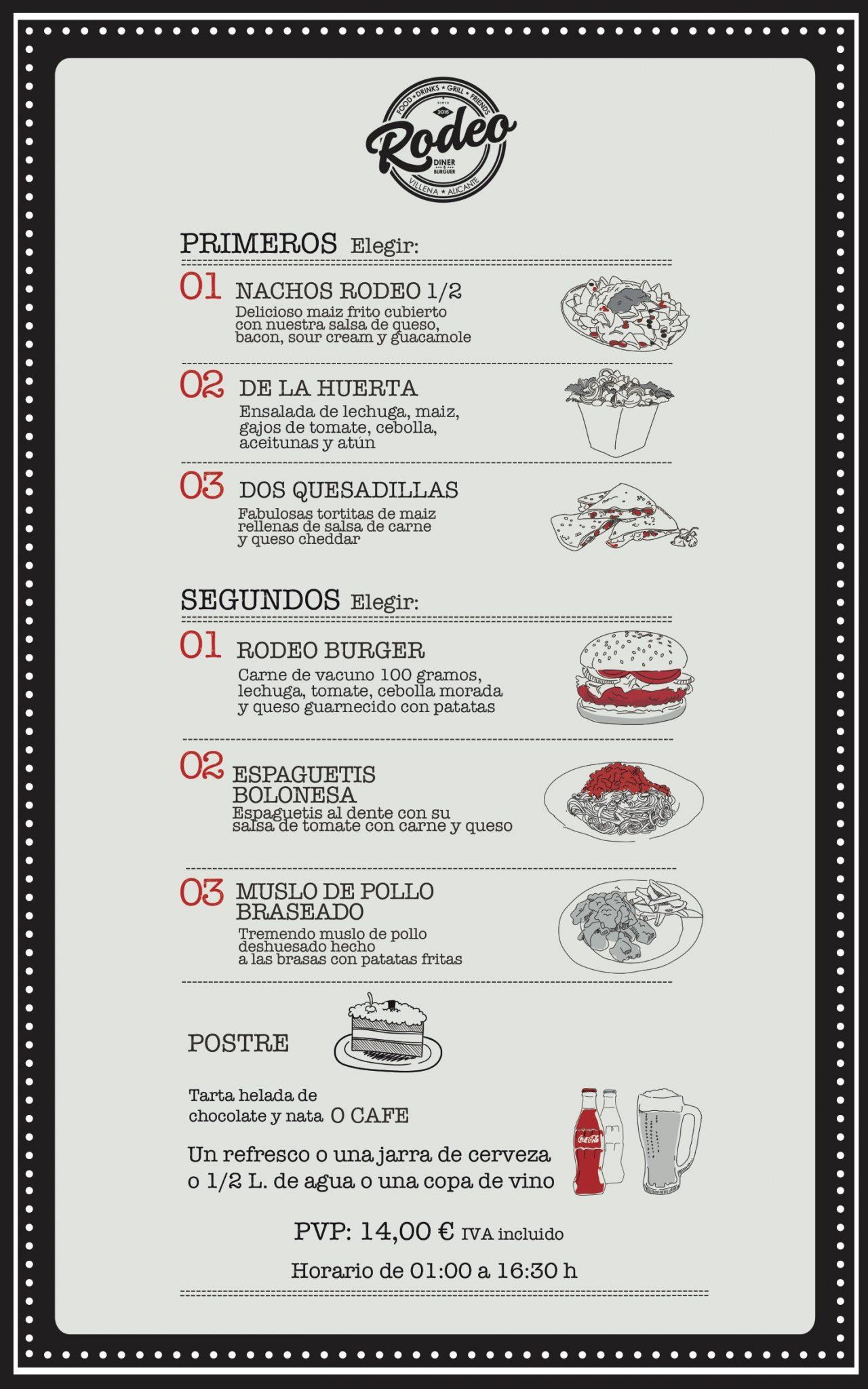 menú del día para fiestas de Moros y Cristianos 2.018 Rodeo Diner & Burger
