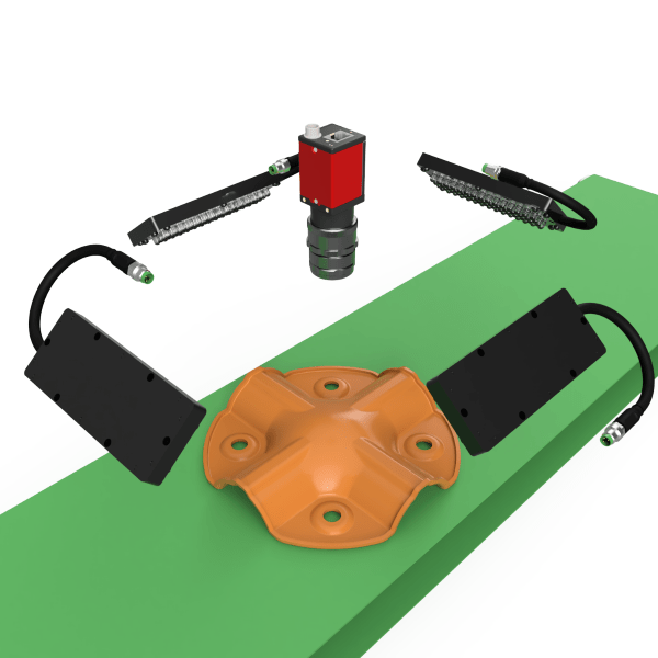 RODER vision application mechanical parts on belt vision systems with led lighters