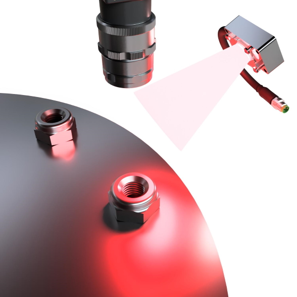 RODER vision application with compact led lighter and vision camera on nuts and small mechanical samples