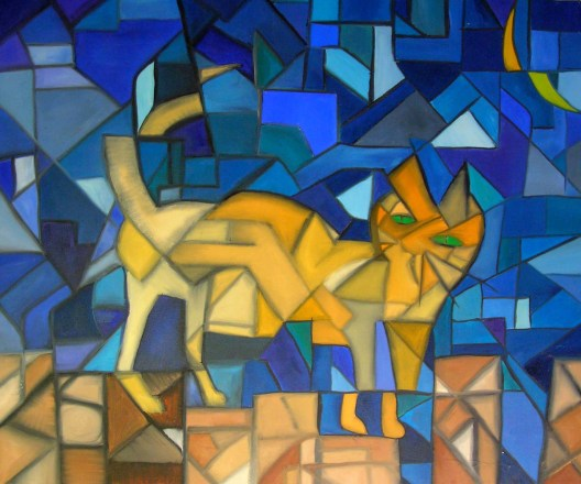 Cubist Cat Painting on Canvas by Rodger Bliss Bradenton Florida