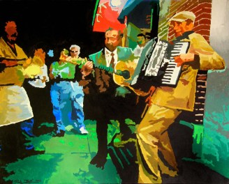 Street Music Painting by Rodger Bliss of Bradenton Florida