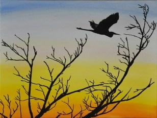 Crane sunset Sarasota swamp Oil Painting Silhouette