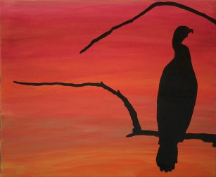Anhinga sunset Sarasota swamp Oil Painting Silhouette