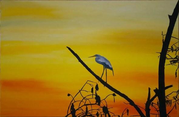 Heron sunset Sarasota swamp Oil Painting Silhouette