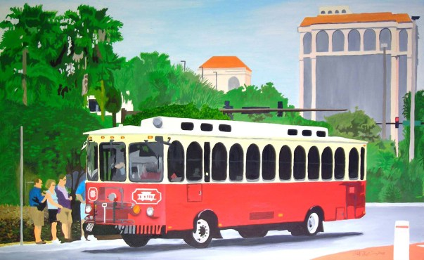 Sarasota Trolley Painting by Rodger Bliss