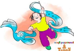 Развитие ребенка 3 года: танец с шарфиками, прыг-скок