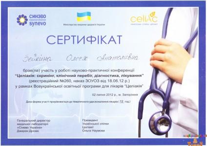 Сертификат Зейкиной О.А. про участие в конференции