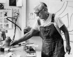 De Kooning in his painting overalls