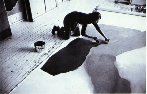 Helen Frankenthaler Painting in Her 83rd Street Studio, 1969