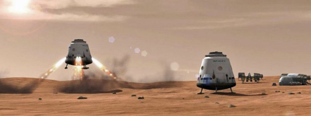 Dragon Mars LandingArtist's rendition of a Dragon spacecraft landing on the surface of Mars.Credit: SpaceX
