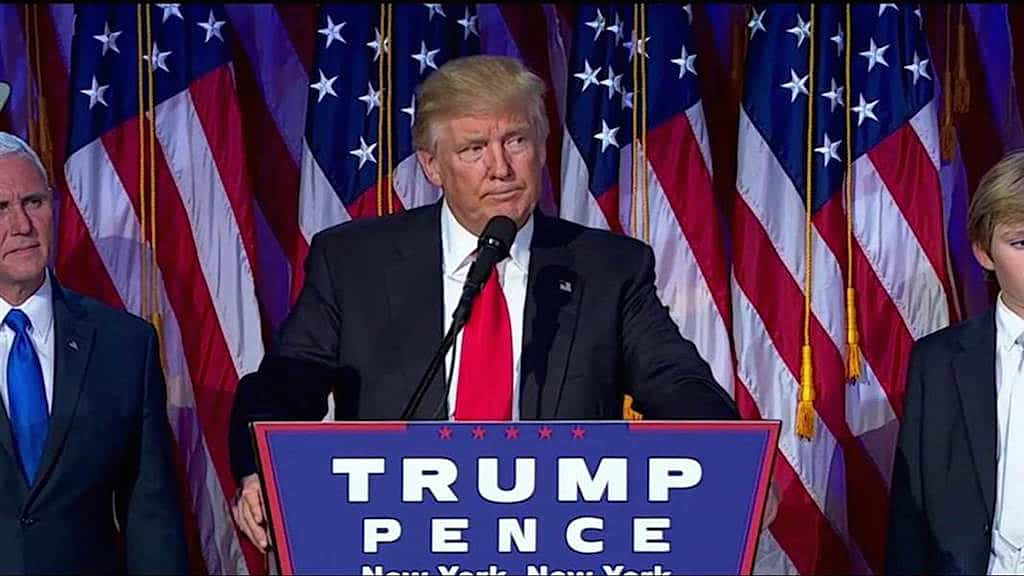 Republican President-elect Donald Trump delivers his acceptance speech during his election night event at the New York Hilton Midtown in the early morning hours of Nov. 9, 2016 in New York City. Donald Trump defeated Democratic presidential nominee Hillary Clinton to become the 45th president of the United States. Mark Wilson/Getty Images