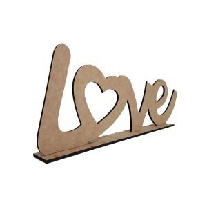 """RECORTE LASER ESCRITO """"LOVE"""" NA BASE Nº3 G-40X16CM"""