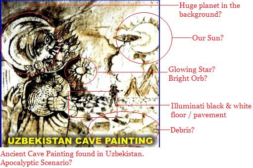 Grande planeta ao fundo? Nosso sol? Estrela ou orbe brilhante? Assoalho preto e branco Illuminati Destroços? Antiga pintura encontrada numa caverna no Uzbequistão. Seria um cenário apocalíptico?