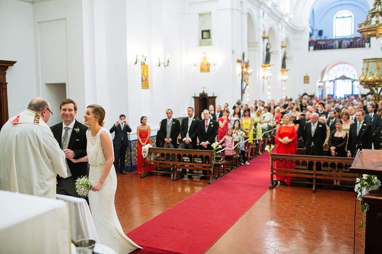 International wedding in Nuestra Senora del Rosario church in Buenos Aires