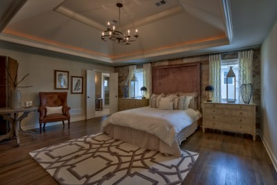 Master bedroom with vaulted ceiling photo