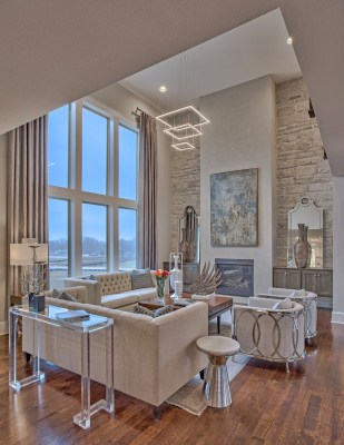 Great Room and Fireplace of the Coronado plan