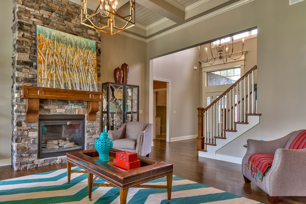 El Dorado Great Room with stone fireplace