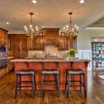 El Dorado Kitchen Island with red stain