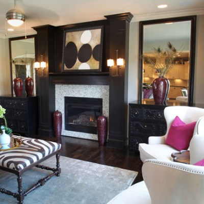 Hepburn II fireplace with black painted mantle