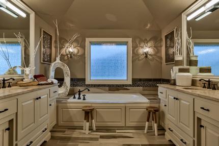 Hepton master bath with white enamel cabinets