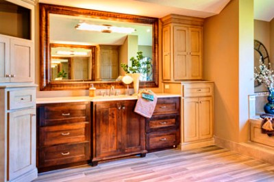 Larsen II master bath with stain and enamel cabinets