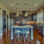 Roanoke kitchen with grey enamel island
