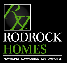 Stacked Rodrock Homes logo on a black background