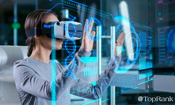 Woman using virtual reality image.