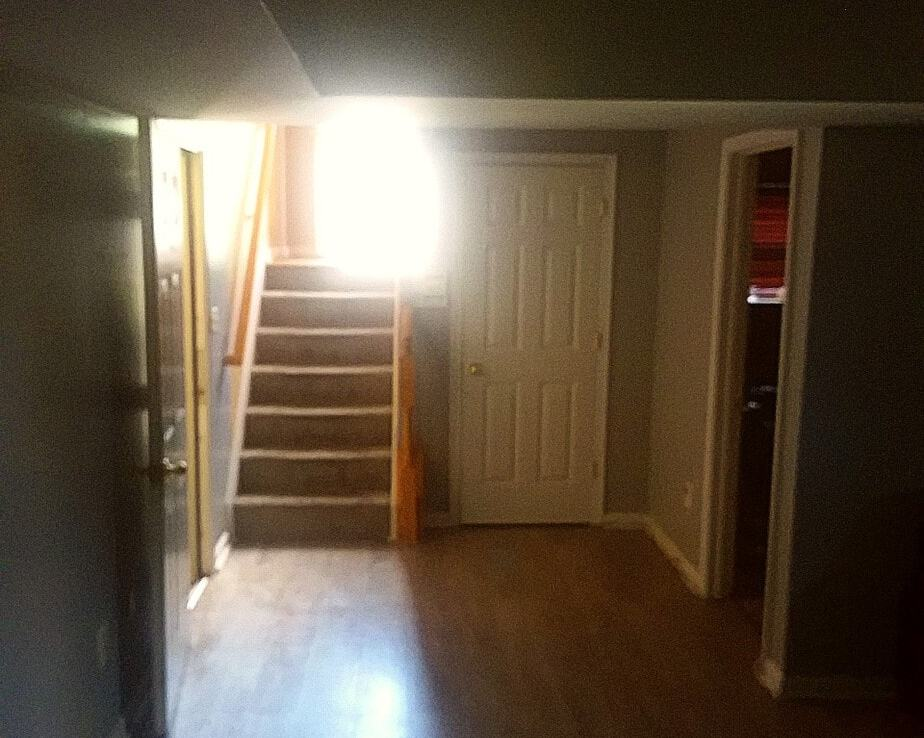 1602 SHADY GLEN DRIVE, DISTRICT HEIGHTS, MD 20747 Lower Level View of Split Level Foyer and 4th Bedroom doorway