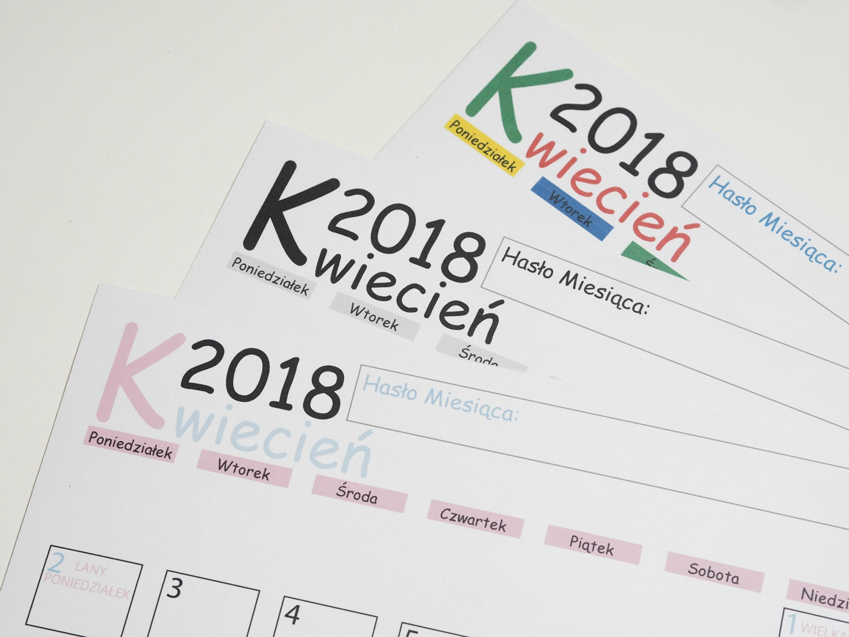 Kalendarz DIY KWIECIEŃ 2018- darmowy planner do druku