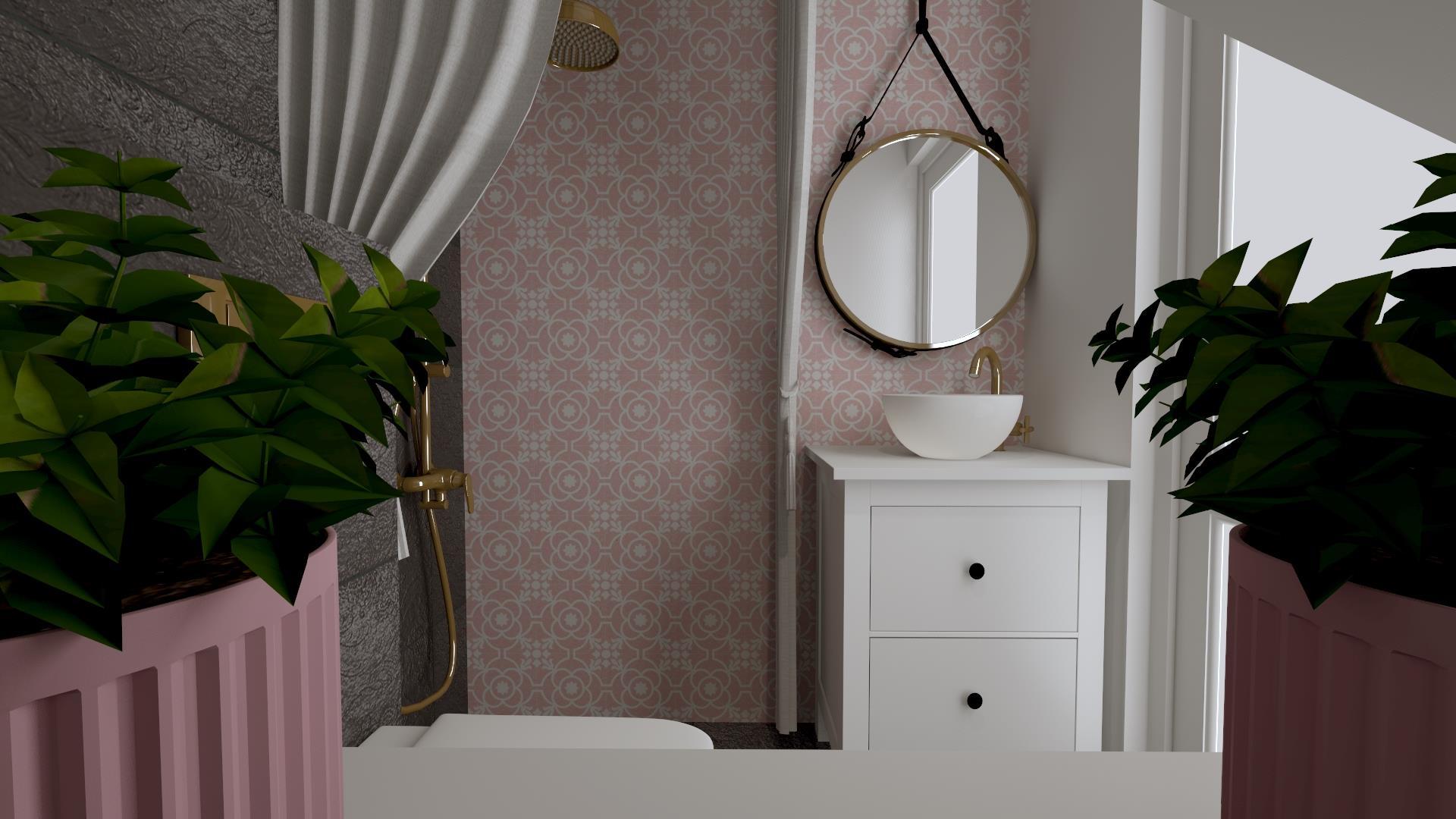 Jak urządzić małą łazienkę- wizualizacja naszej łazienki na dole czyli… róż i już!
