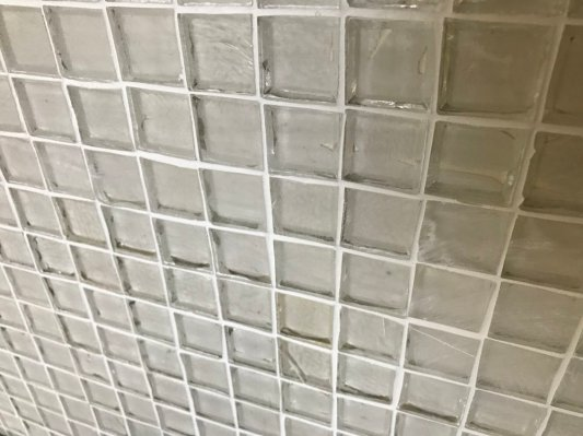 clear glass tile white kitchen
