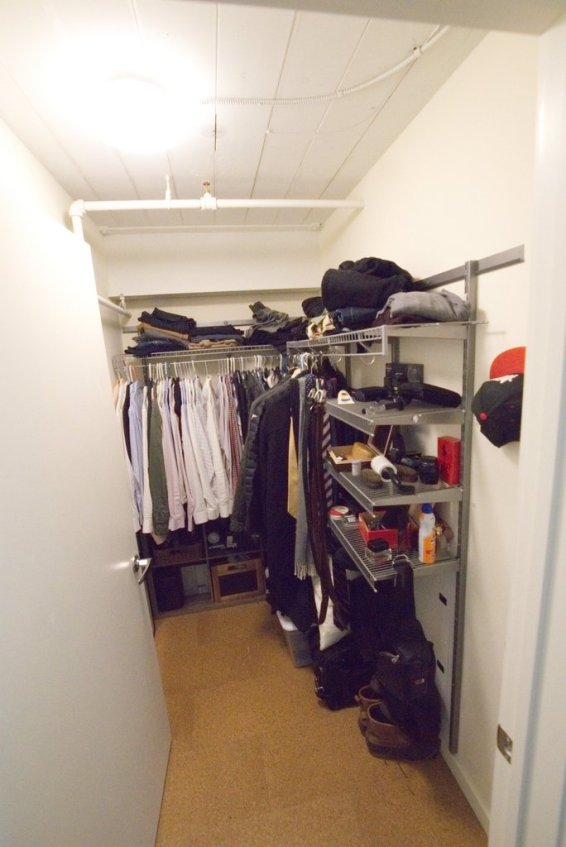 Large closet for platform bedroom.
