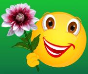 Smiley mit Dahlie rotweiß