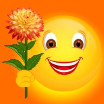 Smiley mit Dahlie gelbrot