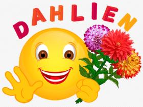 Smiley mit drei Dahlien