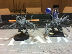 Tried both bases for display. I think with a good application of cork I can fit both creatures on the 40k bases.