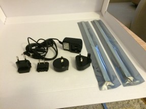 Full set of adapters for global travel, 2 LED strips and the connector to the outlet.