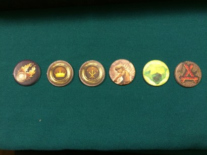Tokens that represent the agents of the Old World and scenario defining events.