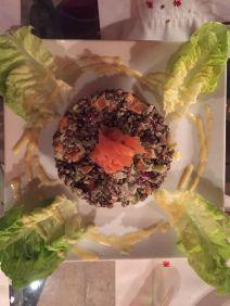 tartar de lentejas con salmón