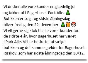 Bagerhuset Park Allé lukker